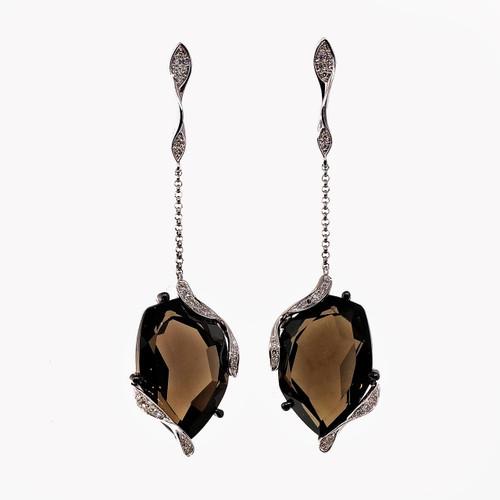 Vintage Fantasy Cut 9.00ct Smoky Quartz 14k White Gold Diamond Dangle Earrings