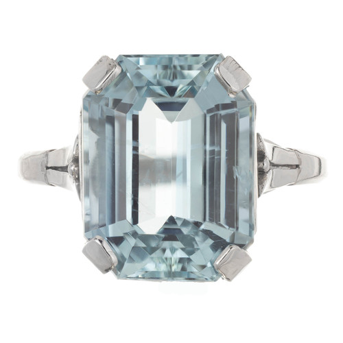 6.05 Carat Green Blue Aquamarine Pierced Platinum Art Deco Engagement Ring