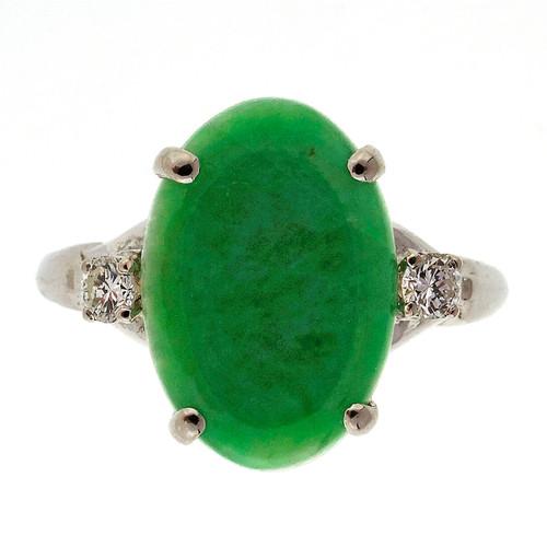 Vintage Mid Century 1940 Natural Jadeite Jade Palladium Diamond Ring