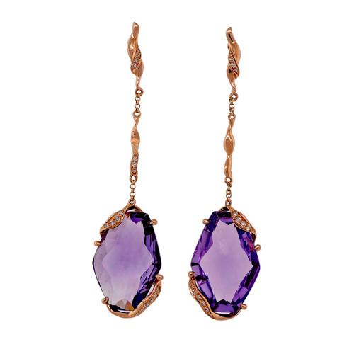 Estate Fantasy Cut 6.00ct Amethyst 14k Pink Gold Diamond Dangle Earrings