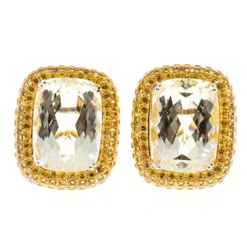 Legato 26.00 Carat Yellow Sapphire Yellow Halo Earrings