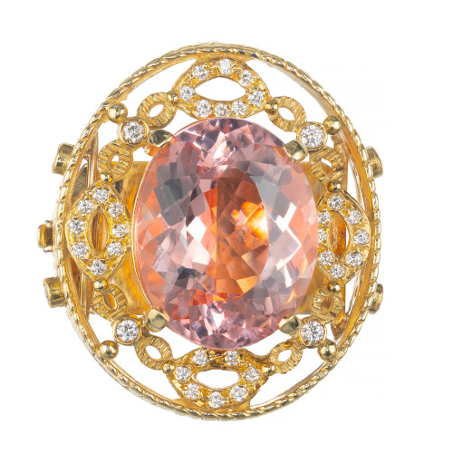 Doris Panos 23.06 Carat Morganite Diamond Yellow Gold  Pendant Slide