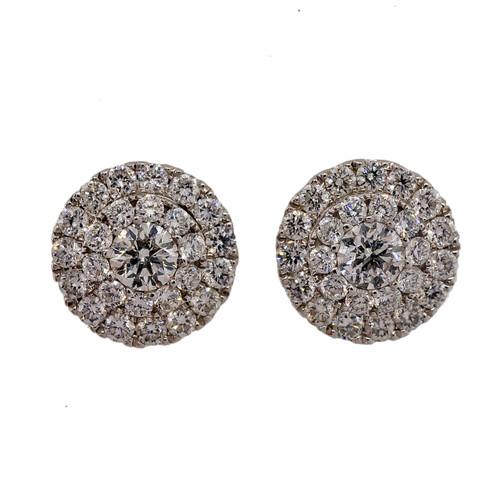 Designer 1.31ct Diamond Cluster ED Stud Jacket Earrings