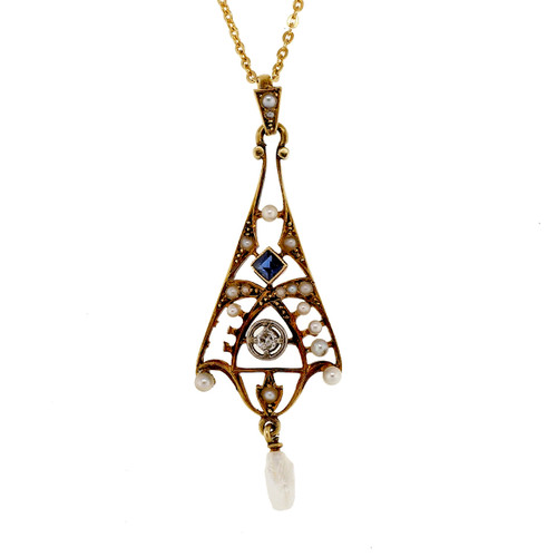 Antique Victorian Pearl Sapphire Diamond Lavaliere 14k Yellow Gold Pendant