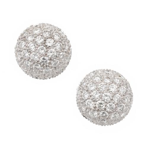 1.50ct Diamond 3-D Dome Cluster 18k White Gold Earrings