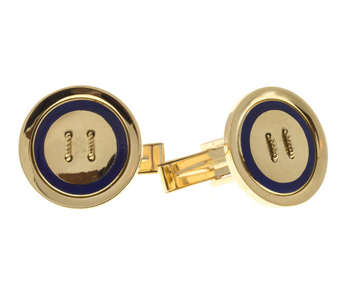 Vintage Blue Enamel Button Style 18k Gold Cufflinks