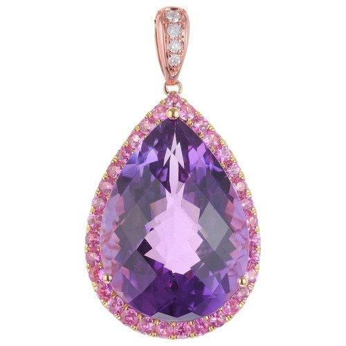 10.03 Carat Amethyst Sapphire Diamond Rose Gold Pendant