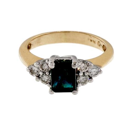 Vintage 1970 .90ct Emerald Diamond 14k Yellow White gold Engagement Ring