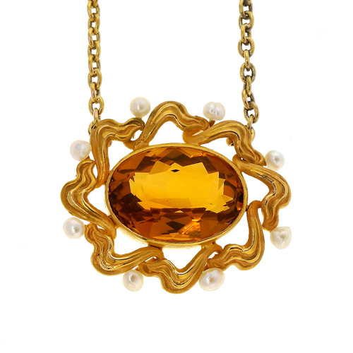 5.20 Carat Citrine  Pearl Yellow Gold Pendant Necklace