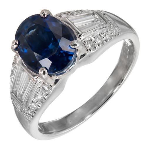 3.19ct Natural Cornflower Blue Sapphire Diamond Platinum Engagement Ring