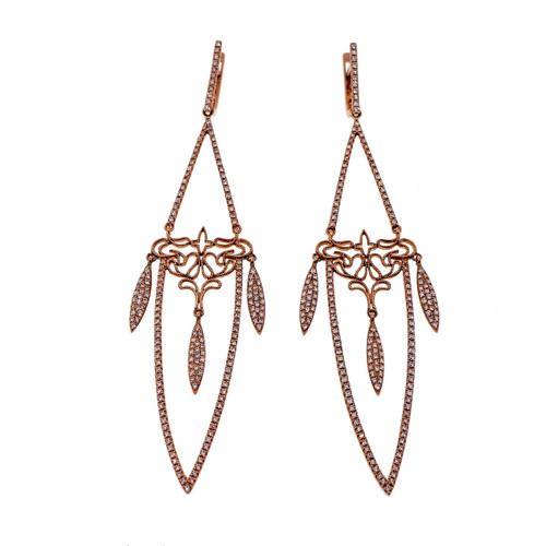 Long Dangle Earrings Rare Retired Designer GB 14k Pink Gold 1.29ct