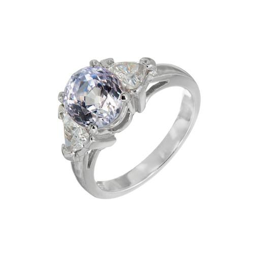 Estate Rare Light Purple 3.26ct Sapphire Platinum Diamond Engagement Ring