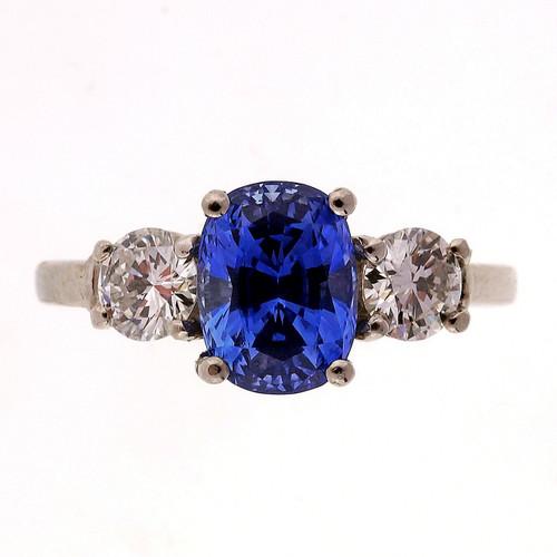1.80 Carat Blue Sapphire Diamond Platinum Engagement Ring