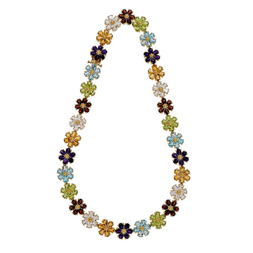 Vintage 1950 – 1960 78.50ct Multi Color Stone 18k Yellow Gold Necklace