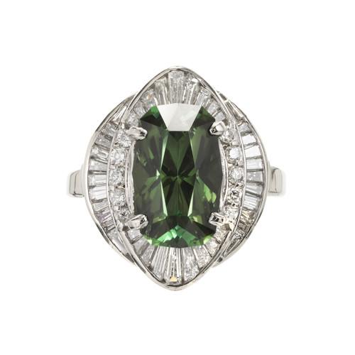 4.11 Carat Green Tourmaline Diamond Platinum Cocktail Ring