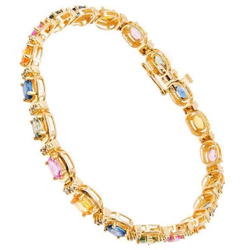 NTF 7.00 Carat Sapphire Diamond Yellow Gold Bracelet