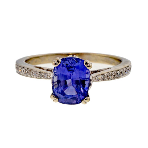 Vintage 1.81ct Natural Violet Blue Sapphire 18k White Gold Engagement Ring
