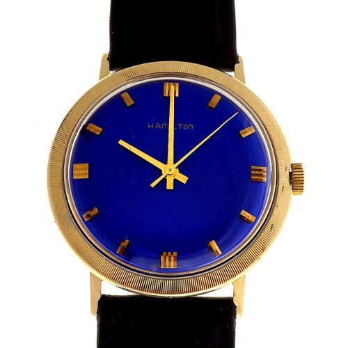 Hamilton Yellow Gold Blue Dial 1960 Men's Wristwatch