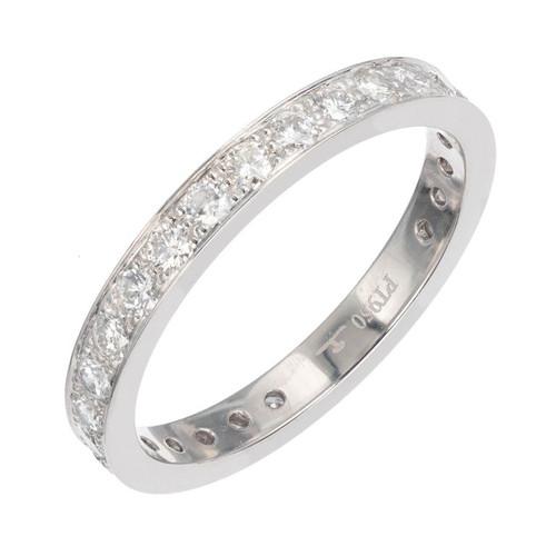 Flat Bead Set Pave .70ct Diamond Eternity Band Ring 2.5mm Wide Platinum