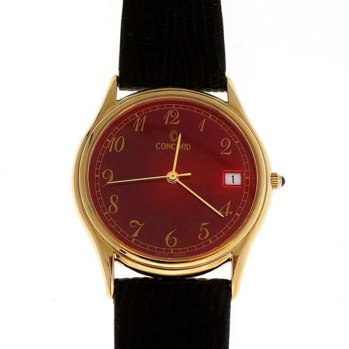 Concord Yellow Gold Red Dial Quartz Men's Date Wristwatch