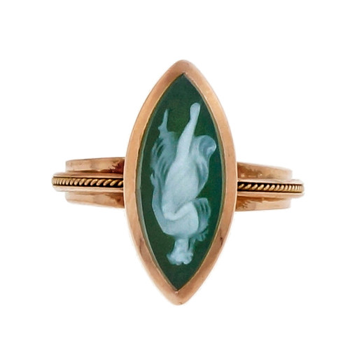 Victorian 1900 Green Quartz Hardstone Cameo 18k Pink Gold Ring