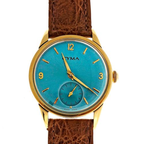 Cyma Yellow Gold 15 Jewel Iridescent Blue Manual Wind Wristwatch