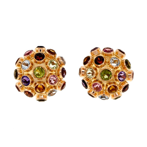 1950 Domed Multi Color Genuine Stone Sputnik Style 18k Pink Gold Earrings