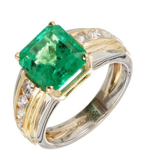 Vintage 1960 4.02ct Asscher Cut Emerald 18k Yellow Gold Diamond Ring