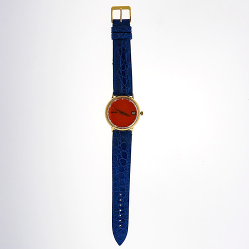 Seiko Yellow Gold Automatic Date Orange Dial Wristwatch