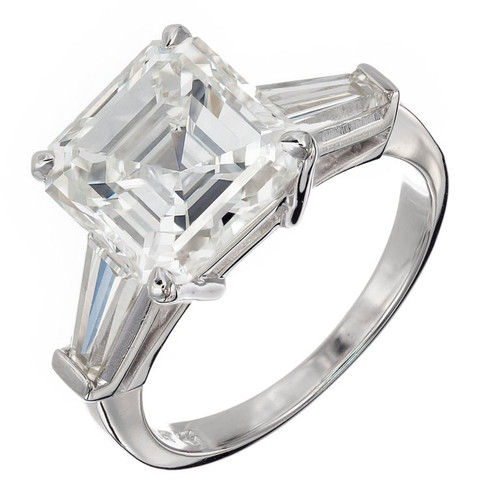 Peter Suchy 4.41ct  Asscher Diamond Baguette Engagement Ring