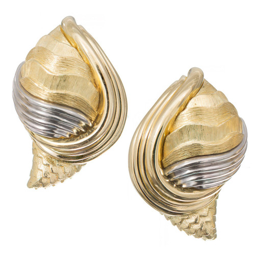 Vintage Henry Dunay Cinnabar 18k Gold Platinum Textured Shell Design Earrings