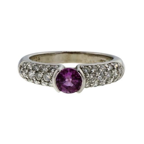Estate .56ct Pink Sapphire IOG 14k White Gold Diamond Pave Ring
