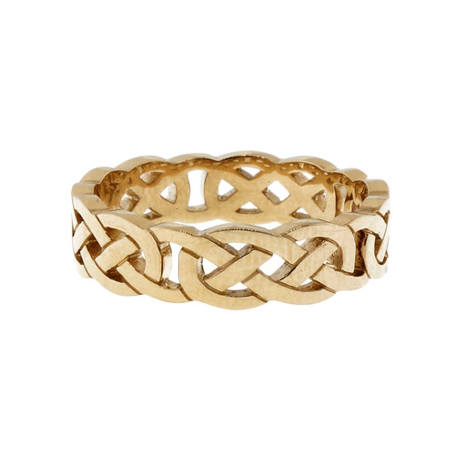 Celtic Open Cut Out Repeating Design 6mm Wide PSD Wedding Band 14k Yellow Gold