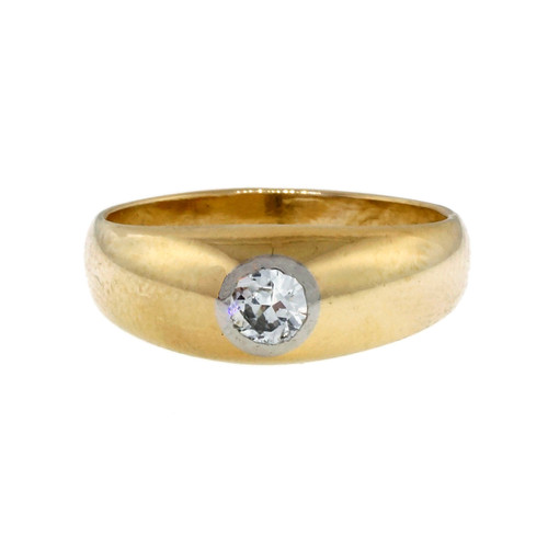 Vintage Men's 1940 Gypsy 18k Yellow Gold Platinum .23ct Diamond Ring