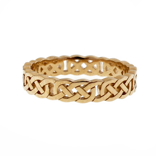 Peter Suchy Celtic Cut Repeating Pattern 4mm Wedding Band Ring PSD 14k Yellow Gold