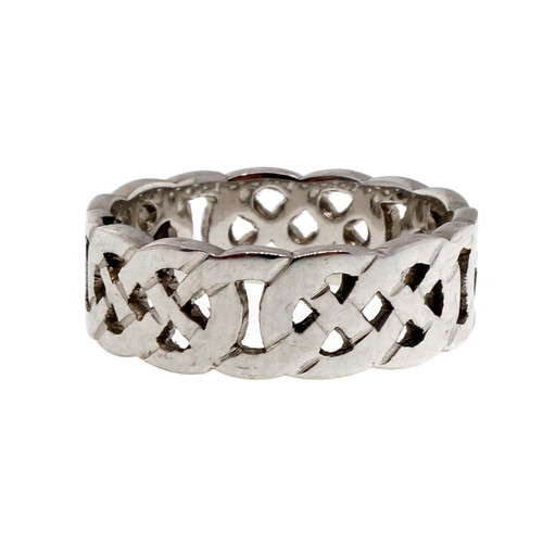 Celtic Cut Out Repeating Pattern 14k White Gold Wedding Band Ring PSD 6mm
