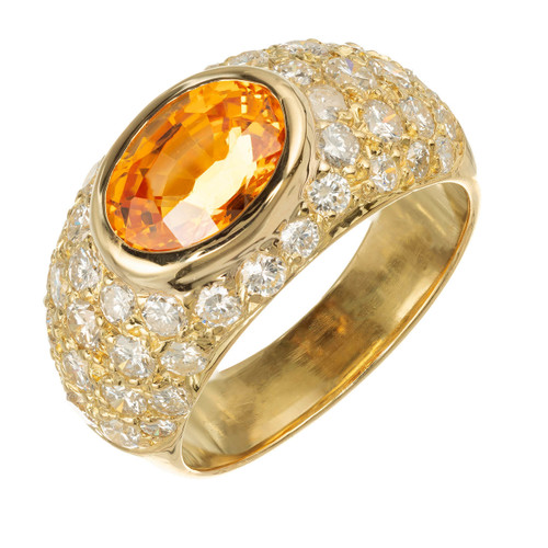 Vintage 1960 2.43ct Spessartite Garnet 18k Yellow Gold Pave Diamond Ring