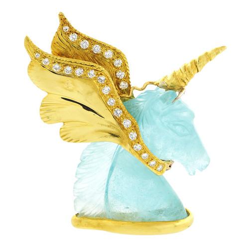 Peter Suchy Natural Aquamarine Diamond Unicorn Pin