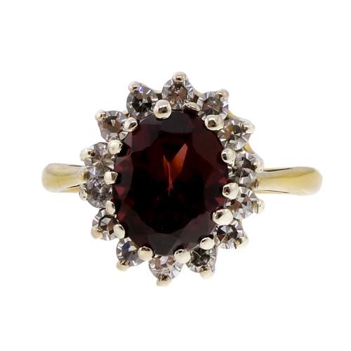 Estate Vintage 2.10ct Red Garnet Diamond 18k Yellow Gold Ring