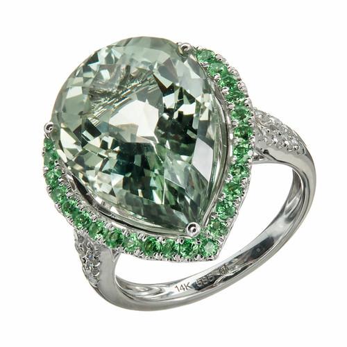 Estate 11.47mm Green Quartz Prasiolite 14k White Gold Green Garnet Diamond Ring