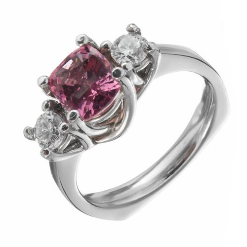Estate Padparadscha 1.61ct Cushion Cut Sapphire Platinum Diamond Engagement Ring