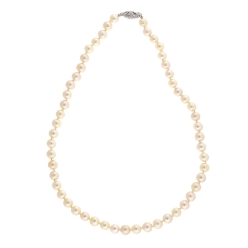 Vintage 1960 7.5mm To 8mm Japanese Akoya Cultured Pearl Natural 18 Inch Necklace