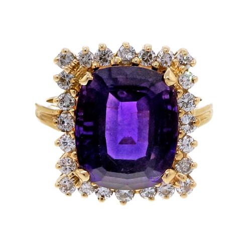 Vintage Estate 5.00ct Cushion Amethyst Diamond 14k Yellow Gold Ring