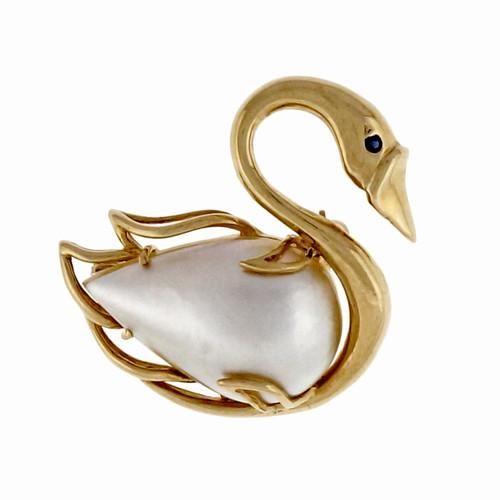 Estate Swan Pin 14k Yellow Gold Mobe Pearl Body Sapphire Eye