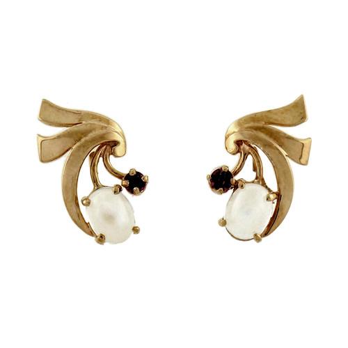 Vintage Retro Art Deco 14k Pink Green Gold Moonstone Ruby Earrings