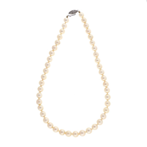 Estate 1950 8mm 15.5 Inch Japanese Cultured Pearl Necklace Silvery Cream Color