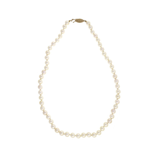 Vintage 1960 Japanese Akoya Culture Pearl Necklace 16 Inch 7 – 7.5mm Natural