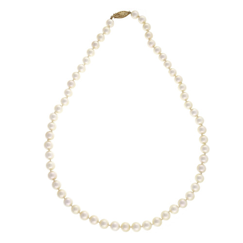 Vintage 1960 7.25mm 18 Inch Japanese Akoya Cultured Pearl Natural Pearl Necklace