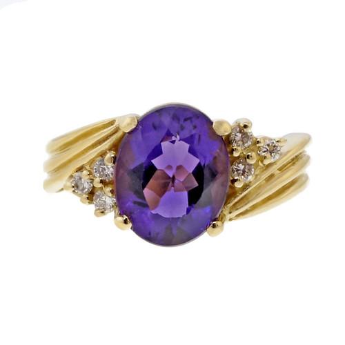 Estate 2.50ct Oval Top Quality Purple Amethyst 18k Yellow Gold Diamond Ring