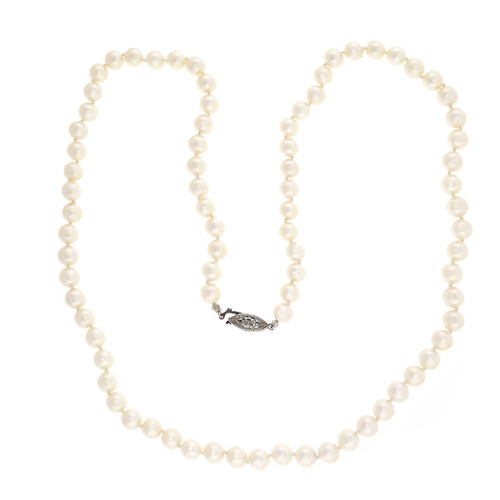 Vintage 1960 Akoya Cultured Pearl 24 Inch 7mm Necklace Natural Color White